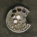 Textured range, Cuttle fish textured 9ct gold with pink saphire saphire brooch/pendant.