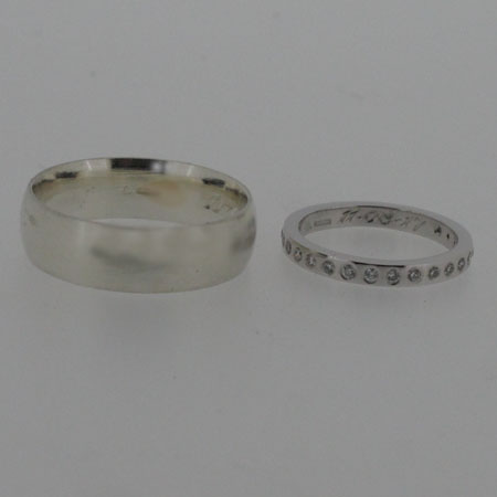 18ct white gold and platinum wedding rings, His 18ct white gold wedding ring and her platinum and diamond wedding ring.