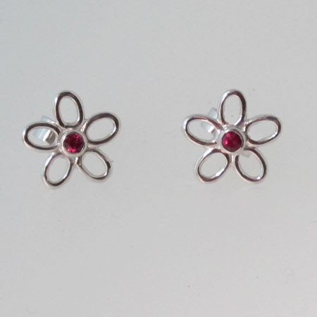9ct white gold and ruby earrings, 9ct white gold stud earrings mounted with 2.5mm good quality rubies. Rhodium plated.