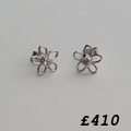 9ct and diamond flower earrings