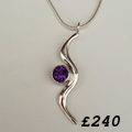 Amethyst silver wave necklace