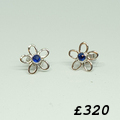 Sapphire 9ct white gold stud daisy earrings