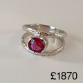 Reticulated-18ct-and-ruby-ring, 18ct reticulated white gold ruby ring 1.34ct Rhodium plated Hallmarked in London1870