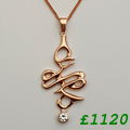 9ct and diamond rose gold necklace 4Omm length