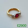 Ruby, diamond and gold engagementdress ring